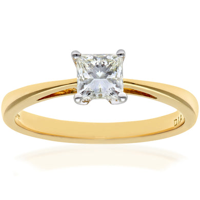 18ct Yellow Gold 1/2 Carat Certified J/SI Princess Cut Diamond Engagement Ring