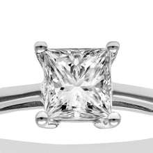 Load image into Gallery viewer, 18ct White Gold 3/4 Carat Certified J/I Princess Cut Diamond Engagement Ring