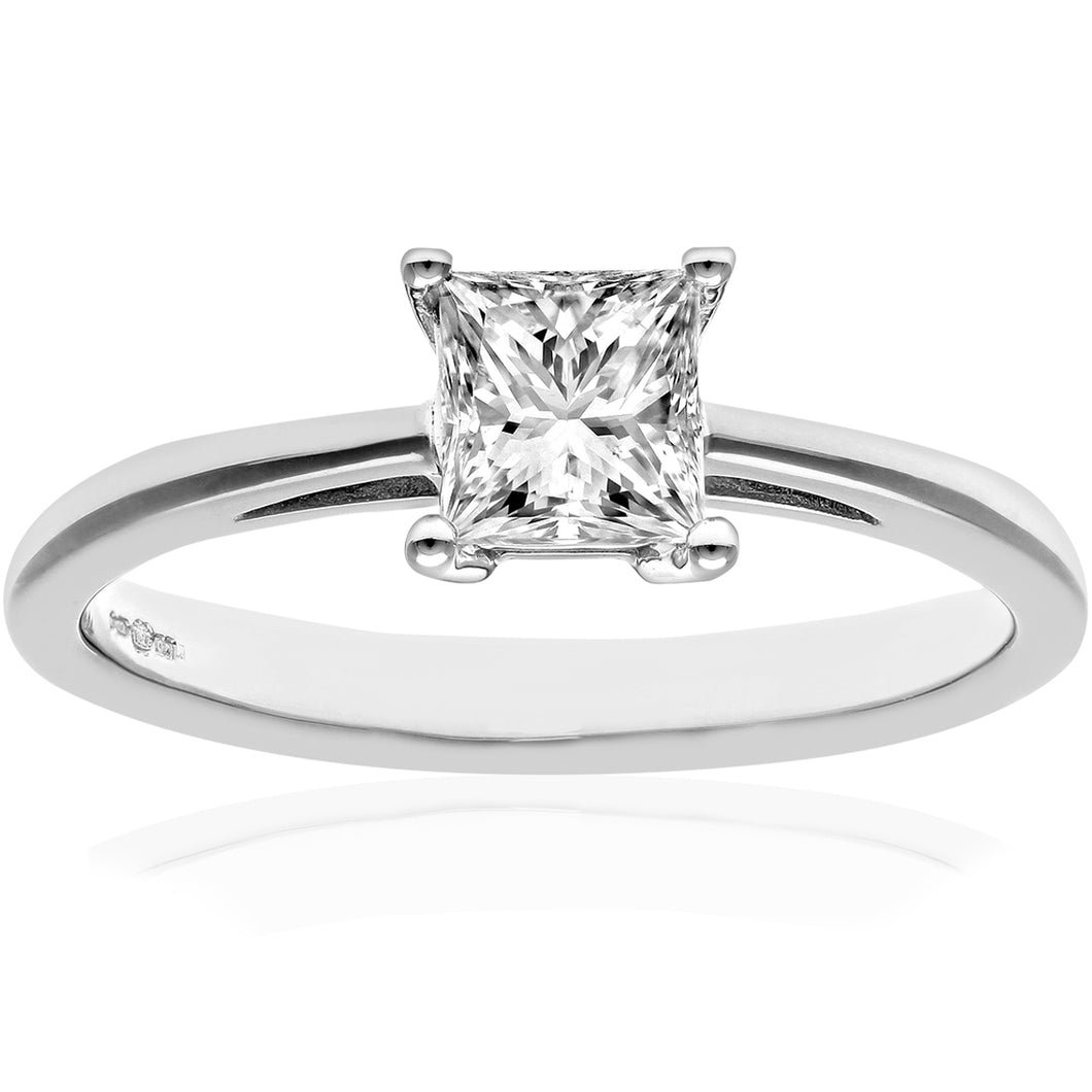 18ct White Gold 3/4 Carat Certified J/I Princess Cut Diamond Engagement Ring