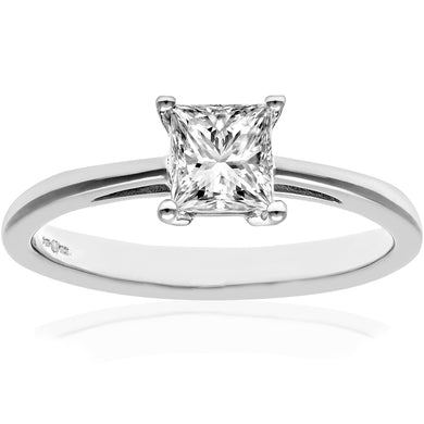 18ct White Gold 3/4 Carat Certified J/SI Princess Cut Diamond Engagement Ring