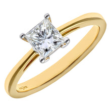 Load image into Gallery viewer, 18ct Yellow Gold 3/4 Carat Certified J/I Princess Cut Diamond Engagement Ring