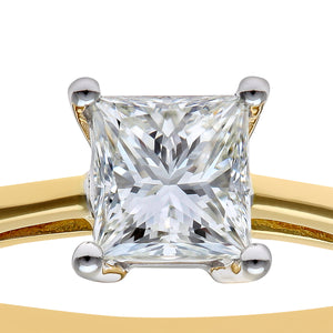18ct Yellow Gold 3/4 Carat Certified J/SI Princess Cut Diamond Engagement Ring