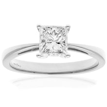 Load image into Gallery viewer, 18ct White Gold 1 Carat Certified J/I Princess Cut Diamond Engagement Ring