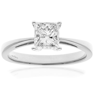 18ct White Gold 1 Carat Certified J/SI Princess Cut Diamond Engagement Ring