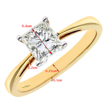 Load image into Gallery viewer, 18ct Yellow Gold 1 Carat Certified J/I Princess Cut Diamond Engagement Ring