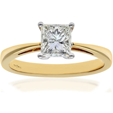 18ct Yellow Gold 1 Carat Certified J/I Princess Cut Diamond Engagement Ring