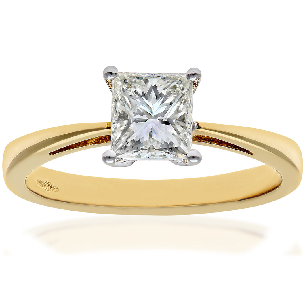 18ct Yellow Gold 1 Carat Certified J/SI Princess Cut Diamond Engagement Ring