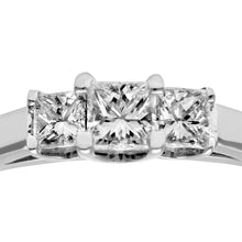 Load image into Gallery viewer, 18ct White Gold 1/3 Carat Certified J/SI Princess Cut Diamond Trioligy Ring