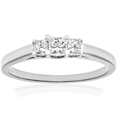 18ct White Gold 1/3 Carat Certified J/SI Princess Cut Diamond Trioligy Ring
