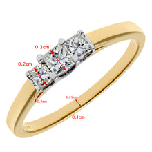 Load image into Gallery viewer, 18ct Yellow Gold 1/3 Carat Certified J/I Princess Cut Diamond Trioligy Ring