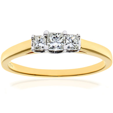 18ct Yellow Gold 1/3 Carat Certified J/I Princess Cut Diamond Trioligy Ring