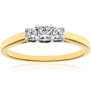 18ct Yellow Gold 1/3 Carat Certified J/SI Princess Cut Diamond Trioligy Ring