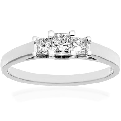 18ct White Gold 1/2 Carat Certified J/SI Princess Cut Diamond Trioligy Ring