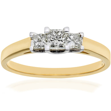 18ct Yellow Gold 1/2 Carat Certified J/I Princess Cut Diamond Trioligy Ring