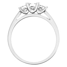 Load image into Gallery viewer, 18ct White Gold 3/4 Carat Certified J/I Princess Cut Diamond Trioligy Ring