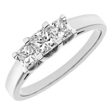 Load image into Gallery viewer, 18ct White Gold 3/4 Carat Certified J/SI Princess Cut Diamond Trioligy Ring
