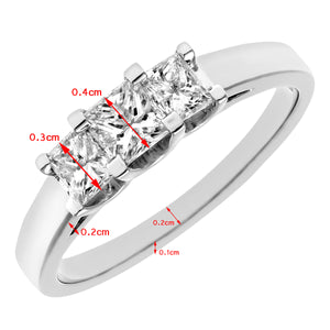 18ct White Gold 3/4 Carat Certified J/SI Princess Cut Diamond Trioligy Ring