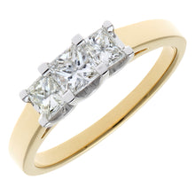 Load image into Gallery viewer, 18ct Yellow Gold 3/4 Carat Certified J/I Princess Cut Diamond Trioligy Ring