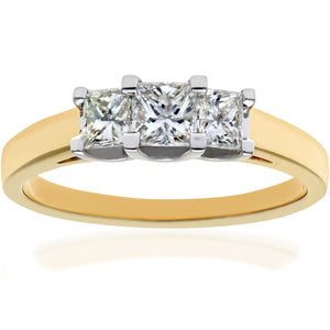 18ct Yellow Gold 3/4 Carat Certified J/I Princess Cut Diamond Trioligy Ring