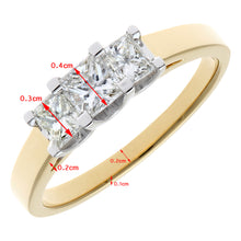 Load image into Gallery viewer, 18ct Yellow Gold 3/4 Carat Certified J/SI Princess Cut Diamond Trioligy Ring