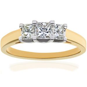 18ct Yellow Gold 3/4 Carat Certified J/SI Princess Cut Diamond Trioligy Ring