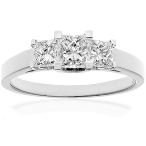 18ct White Gold 1 Carat Certified J/I Princess Cut Diamond Trioligy Ring