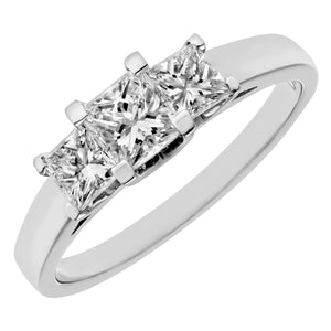18ct White Gold 1 Carat Certified J/SI Princess Cut Diamond Trioligy Ring