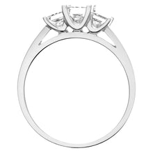 Load image into Gallery viewer, 18ct White Gold 1 Carat Certified J/SI Princess Cut Diamond Trioligy Ring