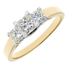 Load image into Gallery viewer, 18ct Yellow Gold 1 Carat Certified J/I Princess Cut Diamond Trioligy Ring