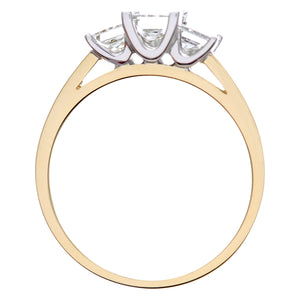 18ct Yellow Gold 1 Carat Certified J/I Princess Cut Diamond Trioligy Ring