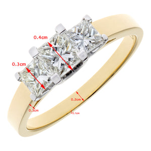 18ct Yellow Gold 1 Carat Certified J/SI Princess Cut Diamond Trioligy Ring