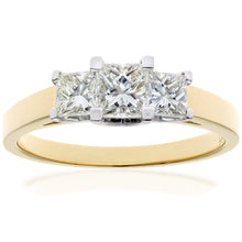 Load image into Gallery viewer, 18ct Yellow Gold 1 Carat Certified J/SI Princess Cut Diamond Trioligy Ring