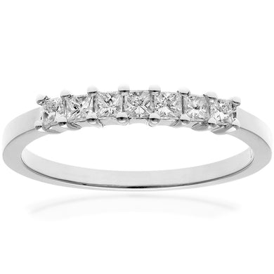 Platinum 1/3 Carat Certified J/I Princess Cut Diamond Eternity Ring