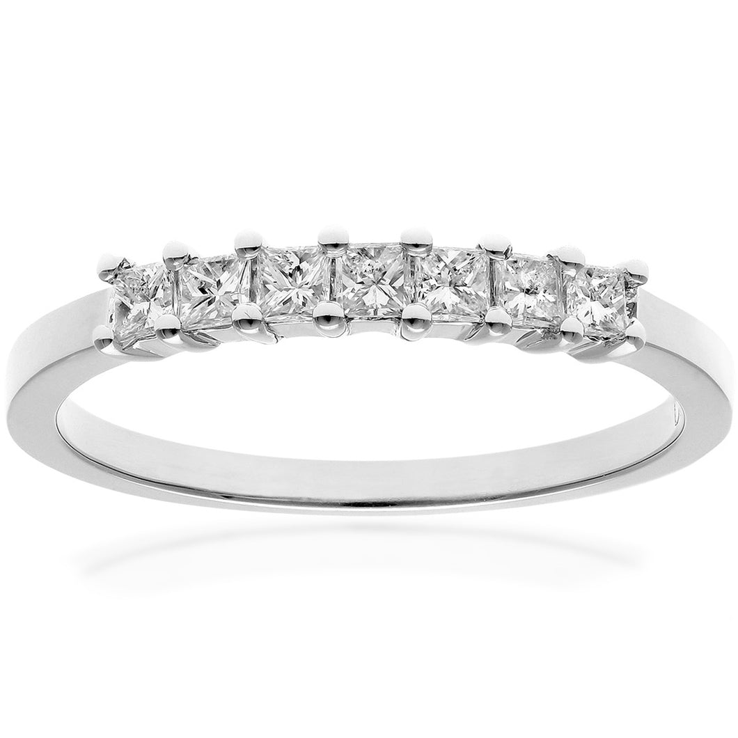 Platinum 1/3 Carat Certified J/SI Princess Cut Diamond Eternity Ring