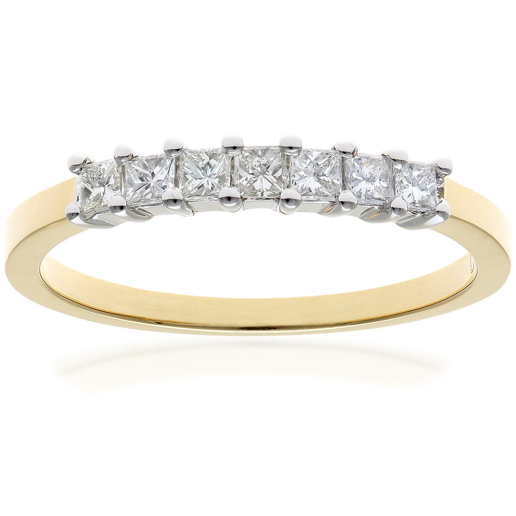 18ct Yellow Gold 1/3 Carat Certified J/I Princess Cut Diamond Eternity Ring