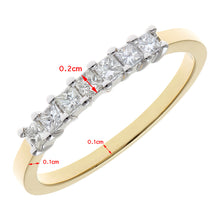 Load image into Gallery viewer, 18ct Yellow Gold 1/3 Carat Certified J/SI Princess Cut Diamond Eternity Ring