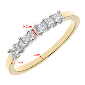 18ct Yellow Gold 1/3 Carat Certified J/SI Princess Cut Diamond Eternity Ring