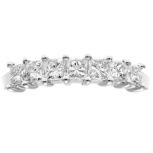 Load image into Gallery viewer, Platinum 3/4 Carat Certified J/I Princess Cut Diamond Eternity Ring