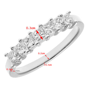 Platinum 3/4 Carat Certified J/I Princess Cut Diamond Eternity Ring