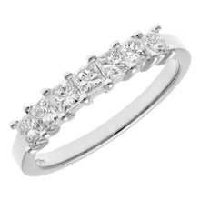 Load image into Gallery viewer, Platinum 3/4 Carat Certified J/SI Princess Cut Diamond Eternity Ring