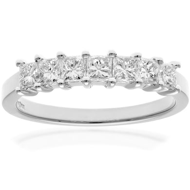 Platinum 3/4 Carat Certified J/SI Princess Cut Diamond Eternity Ring