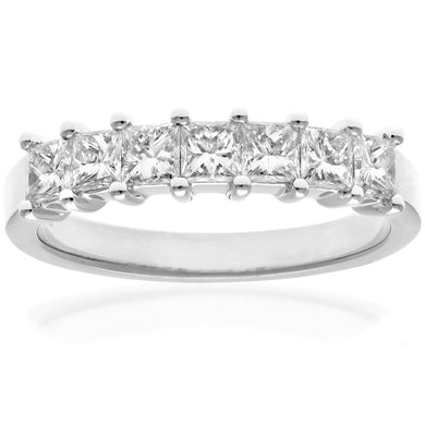 Platinum 1 Carat Certified J/I Princess Cut Diamond Eternity Ring