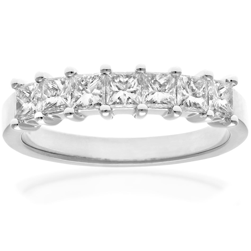 Platinum 1 Carat Certified J/SI Princess Cut Diamond Eternity Ring