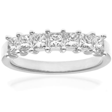 18ct White Gold 1 Carat Certified J/I Princess Cut Diamond Eternity Ring