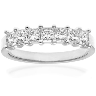 18ct White Gold 1 Carat Certified J/SI Princess Cut Diamond Eternity Ring