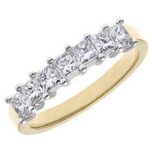 Load image into Gallery viewer, 18ct Yellow & White Gold 1 Carat Certified J/I Princess Cut Diamond Eternity Ring