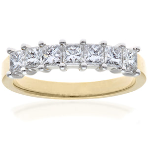 18ct Yellow & White Gold 1 Carat Certified J/I Princess Cut Diamond Eternity Ring