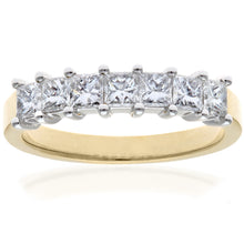Load image into Gallery viewer, 18ct Yellow Gold 1 Carat Certified J/SI Princess Cut Diamond Eternity Ring