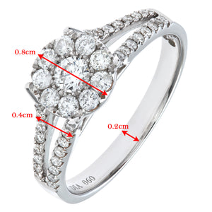 Round Brilliant 0.60ct I/I1 Diamond 18ct White Gold Engagement Ring