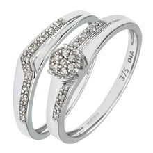 Load image into Gallery viewer, 9ct White Gold 0.12ct Diamond Wishbone Bridal Set Crossover Ring